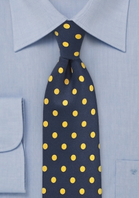 Bold Polka Dot Tie in Navy and Lemon Yellow