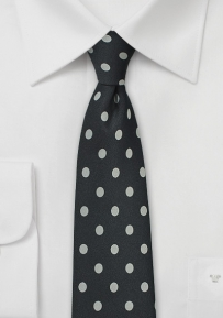 Jet Black Tie with Silver Polka Dots