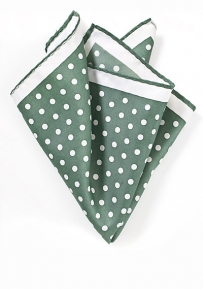 Cypress Green and White Dot Print Pocket Square