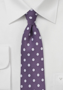 Grape Necktie with Lavender Polka Dots