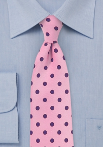 Salmon Pink Tie with Purple Dots