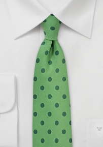 Grass Green Tie with Ivy Green Dot Print