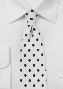 White Mens Tie with Jet Black Polka Dots