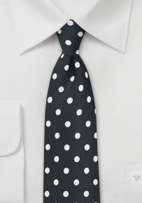 Jet Black Tie with Bright White Polka Dots