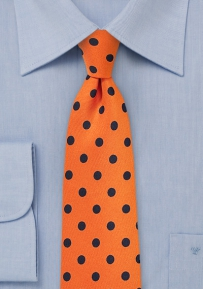 Carrot Orange Necktie with Navy Polka Dots