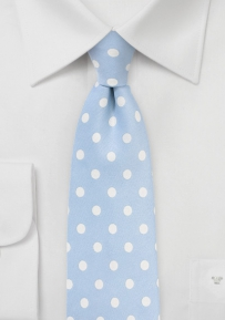 Baby Blue Necktie with White Polka Dots