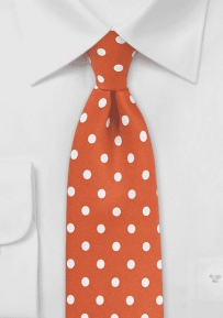 Carrot Orange Tie with White Polka Dots