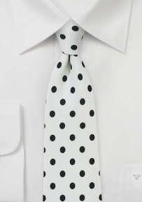 Trendy White Tie with Navy Blue Polka Dots