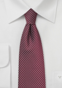 Skinny Pin Dot Necktie in Burgundy
