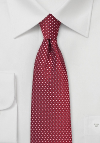 Pin Dot Necktie in Cherry Red