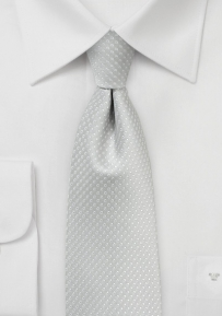 Skinny Pin Dot Necktie in Silver
