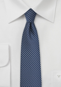 Skinny Pin Dot Tie in Navy