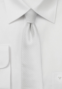 Slim White Tie with Pin Dots