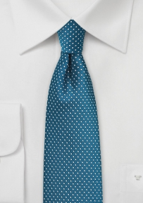 Skinny Pin Dot Tie in Peacock