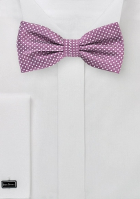 Mens Bow Tie in Raspberry with Micro Dots