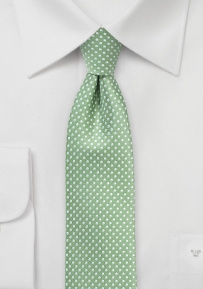 Narrow Micro Dot Necktie in Sage