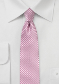 Slim Cut Pin Dot Tie in Dusty Rose