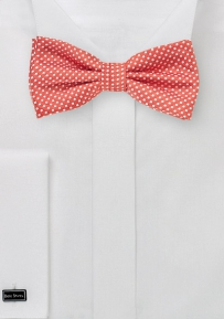Elegant Pin Dot Bow Tie in Coral