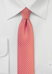Skinny Pin Dot Tie in Coral