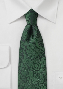 Forest Pine Paisley Tie in Extra Long Length