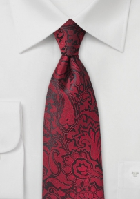 Paisley Necktie in Chili Red
