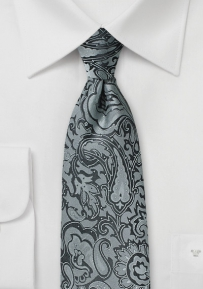 Silver and Gray Paisley Tie for Kids