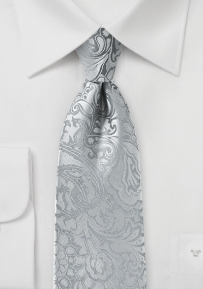 Bold Paisley Tie for Kids in Silver
