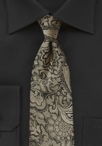 XL Length Paisley Tie in Golden Bronze