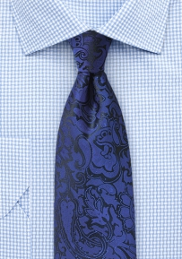 Royal Blue Mens Paisley Tie in Extra Long