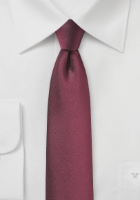Slim Cut Tie in Burgundy Red