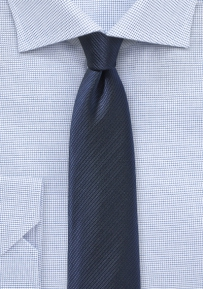 Skinny Mens Tie in Navy with Striped Texture