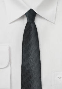 Slim Cut Tie in Black with Texture