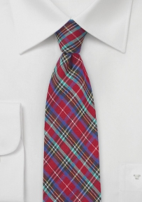 Bold Cotton Plaid Summer Tie in Skinny Cut