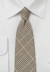 Trendy Wool Glen Check Necktie in Brown