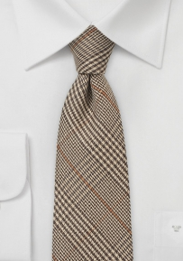 Woven Wool Glen Check tie in Dark Brown