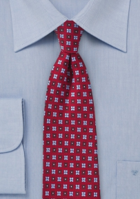Cherry Red, Burgundy, and Light Blue Floral Tie