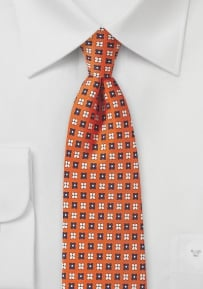 Flower Print Tie in Orange, Peach, and Navy