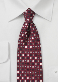 Floral Print Designer Tie in Burgundy, Cream, and Navy