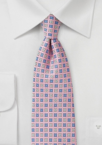 Petal Pink Tie with Flowers in Cream and Lavender