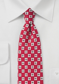 Flower Print Silk Tie in Bright Red