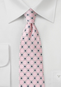 Flower Print Silk Tie in Petal Pink