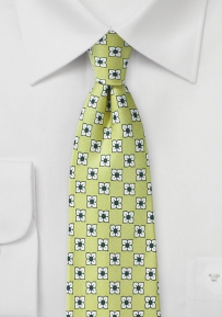 Floral Print Silk Tie in Soft Green, White, and Hunter