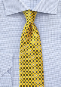 Geometric Foulard Silk Tie in Yellow and Navy