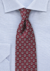 Port Wine Red Silk Tie with Silver Floral Print