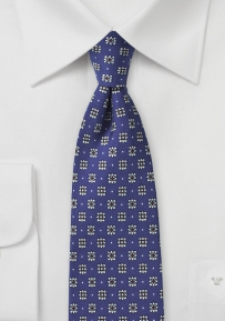 Blue Designer Tie with Silver and Red Blossoms