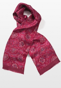 Contemporary Silk Scarf in Vivid Red and Blue