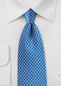 Horizon Blue Geometric Print Tie in Satin Silk