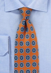 Burnt Orange and Blue Medallion Print Tie