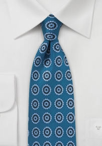 Medallion Print Silk Tie in Sky Blue