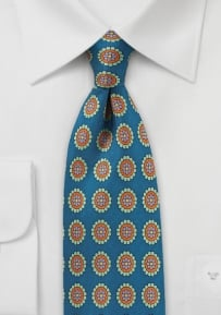Medallion Print Silk Tie in Teal